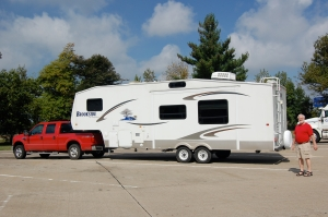 Big Red and our 5th wheel