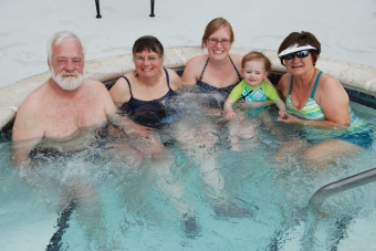 enjoying the hot tub at the RV Park