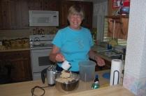 Nancy making chocolate chip cookies