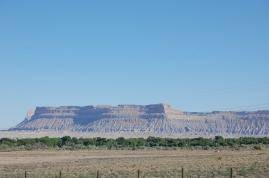 We drove past mesas...