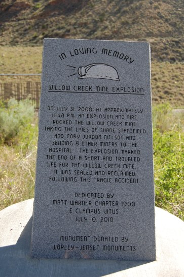 Memorial to Willow Creek Mine Explosion and Fire
