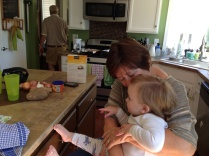 Sherry Crowell and Eliza in Susie's kitchen