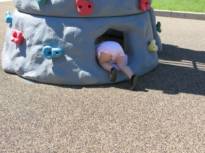 crawling inside the climbing wall