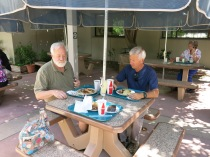 John Ritger and John Crowell having lunch at the hospital cafeteria