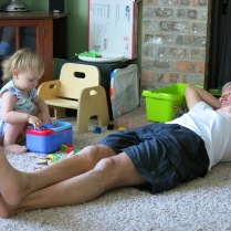 Grandpa John Crowell down on the floor with Eliza
