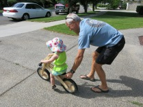 John Crowell and Eliza on the balance bike