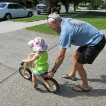 John Crowell and Eliza on the balance bike