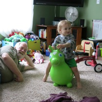 Grandpa Ritger and Eliza on her pony