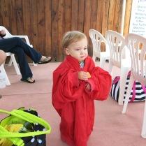 Eliza wearing Grandma Sherry's jacket at swim lessons