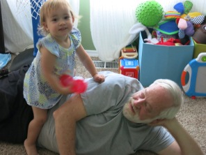 Eliza and Grandpa rough housing!