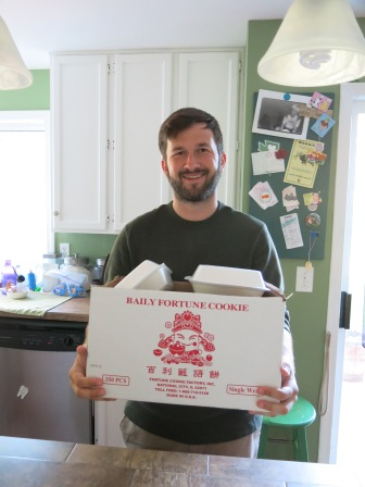 Kevin with our huge box of Chinese takeout
