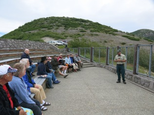 Ranger giving eruption talk at Windy Ridge