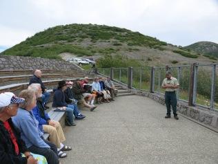 Ranger giving eruption talk at Windy Ridge