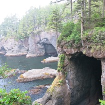 the Makah sandstone is riddled with sea caves along the shoreline