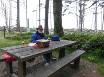 our picnic in the mist at Rialto Beach