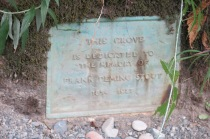 grove dedication plaque to Frank Deming Stout, logging baron