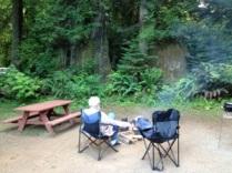 AJ built a campfire