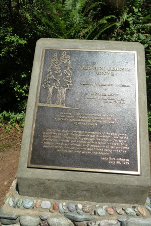 Plaque from dedication of Lady Bird Johnson Grove, July 30, 1969