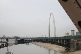view of St Louis arch from MLK Bridge