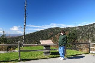 John on Clingmans Dome trail - white trees are frasier fir, killed by balsam woolly adelgid.