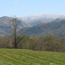 10-25-13 view of snowy ridge in Smokies from Cades Cove