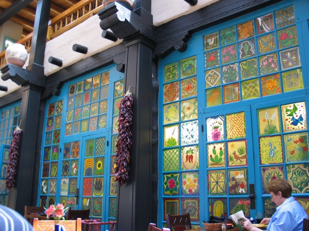 painted windows in La Plaza restaurant