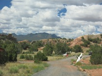 the path in the Turquoise Trail Sculpture Garden