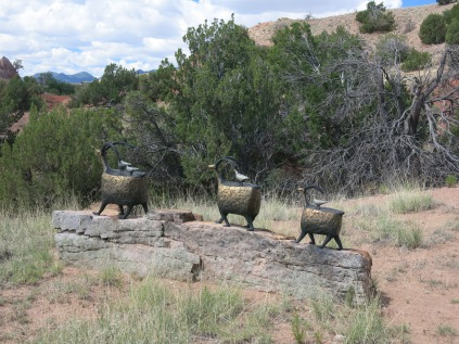 sculpture of big horn sheep, Turquoise Trail Sculpture Garden