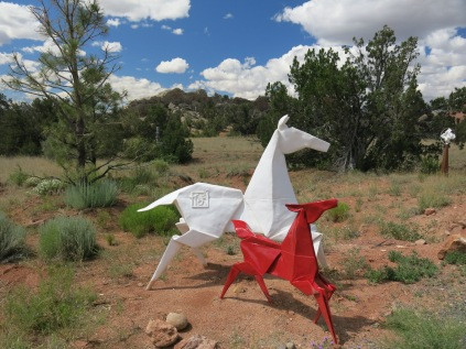 origami stainless steel horses, Turquoise Trail Sculpture Garden
