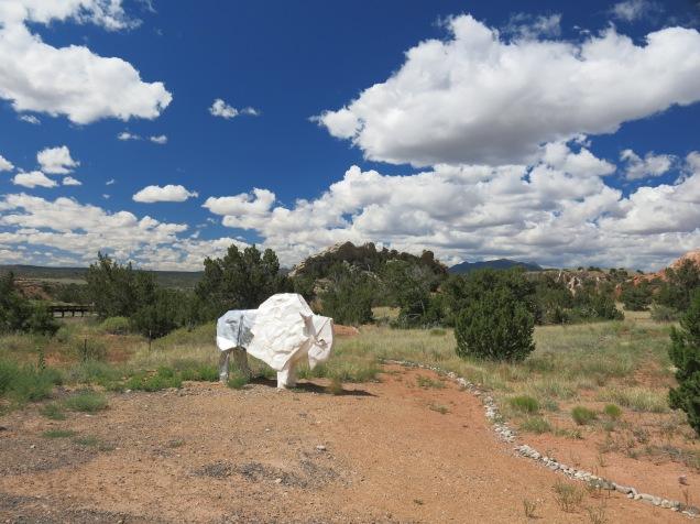 origami bison, Turquoise Trail Sculpture Garden