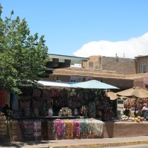 walking toward the Santa Fe plaza, there are a lot of sidewalk retail display