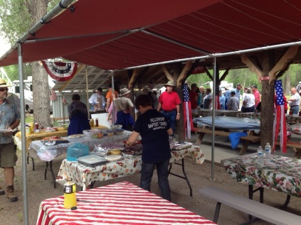 Rio Chama July 4th Potluck - tables of food