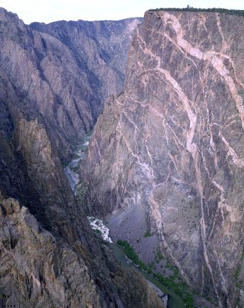 Painted Wall - Black Canyon of the Gunnison - gunnison River 2000 ft below.