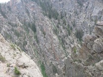 It's difficult to get any depth perception from this photo -- driving the rim of the Toltec Gorge - 600 feet above the Rio de Los Pinos and 800 feet from the opposite rim of the gorge