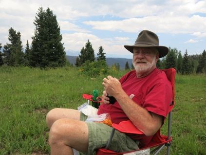 John having his Birthday picnic lunch at 10,000 + feet - FS 631 Mosco Road