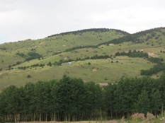 old mines can be seen on the hillsides...