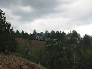 narrow gauge steam train, great whistle through the rain...