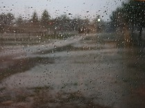Looking out the window from the kitchen table at the growing puddles in the campground...