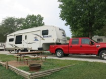 Kansas City East/Oak Grove KOA - Campsite #7. John loved walking barefoot in this site - the grass was like a soft carpet.
