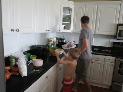 Hank and Johnny making pancakes