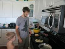 watching Eliza's E pancake turn brown
