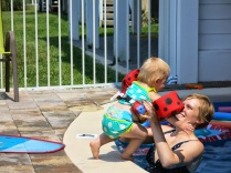 Hazel likes jumping in the pool to Mommy