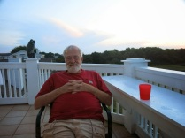 Grandpa is enjoying the evening air....