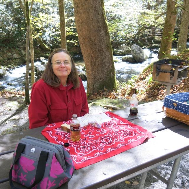 Holly, picnicking at Big Creek, Great Smoky Mountain NP