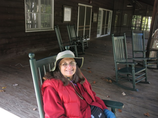 Holly enjoying a rocker on the front porch of the Appalachian Club - Elkmont Historic District